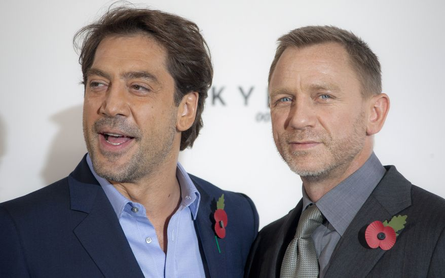 """Actors Daniel Craig (right) and Javier Bardem will star in the James Bond film """"Skyfall,"""" the 23rd in the series. (AP Photo/Joel Ryan)"""