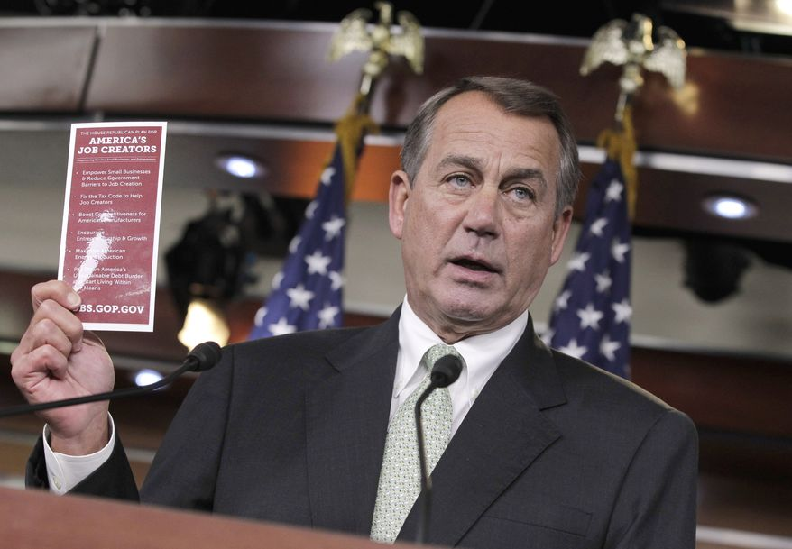 House Speaker John Boehner, Ohio Republican, talks about jobs during a news conference on Capitol Hill on Nov. 3, 2011. (Associated Press)