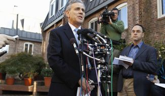 Joel Bennett, an attorney for a woman who accused Herman Cain of sexual harassment while both worked at the National Restaurant Association, speaks during a news conference outside his office in Washington on Nov. 4, 2011. (Associated Press)