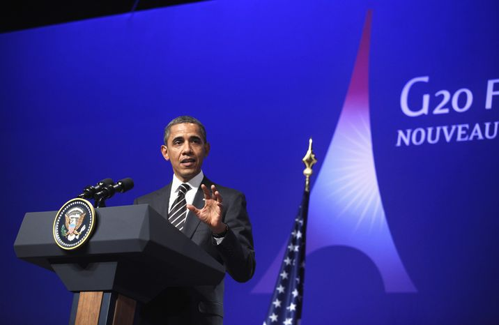 President Obama speaks during a news conference at the G-20 Summit in Cannes, France, on Nov. 4, 2011. (Associated Press)