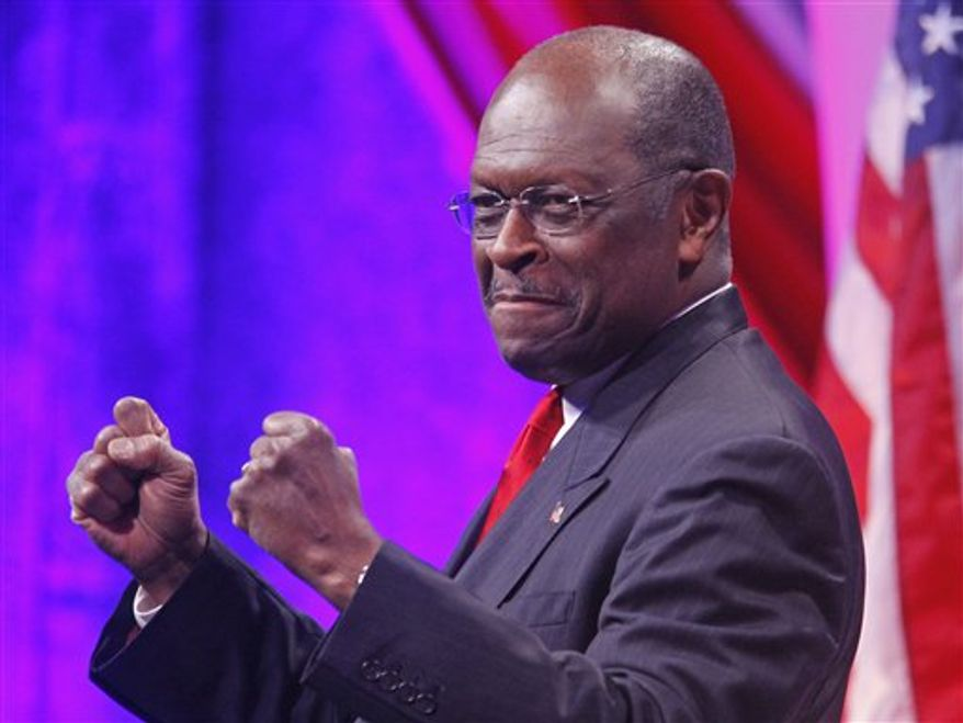 Republican presidential candidate Herman Cain speaks at the Defending the American Dream Summit, Friday, Nov. 4, 2011, in Washington. (AP Photo/Haraz N. Ghanbari)