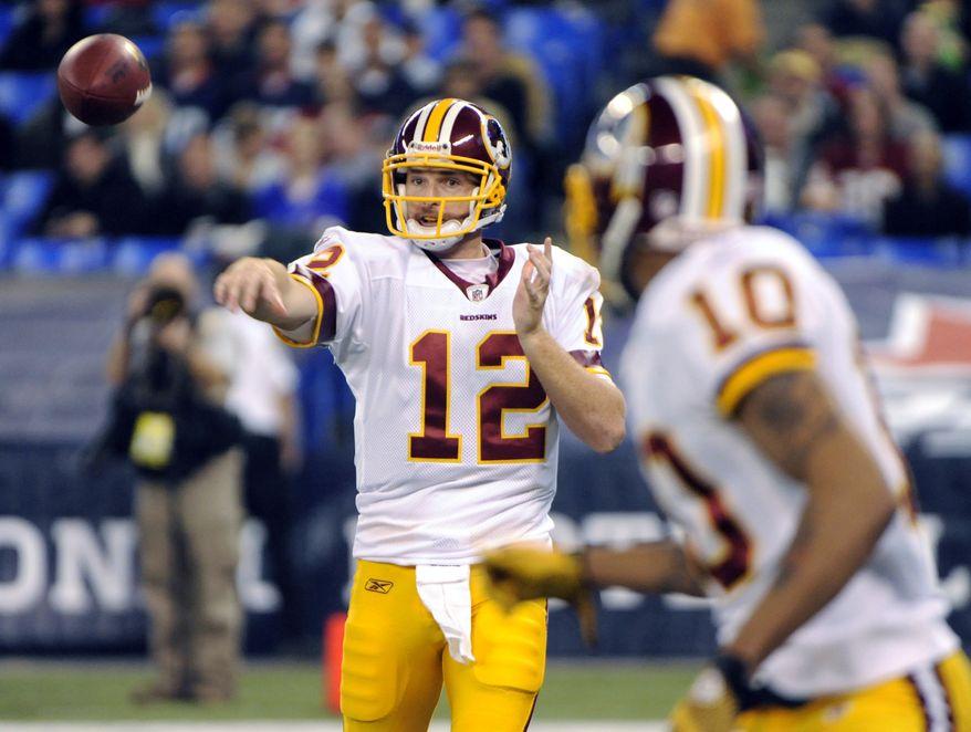 Washington Redskins quarterback John Beck will look to rebound against the stingy San Francisco 49ers defense Sunday. (AP Photo/Gary Wiepert)