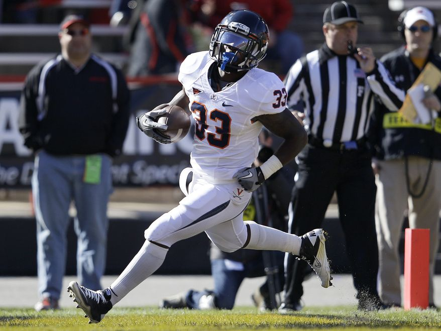 Virginia running back Perry Jones runs into the end zone for a touchdown in the first half of an NCAA college football game against Maryland in College Park, Md., Saturday, Nov. 5, 2011. (AP Photo/Patrick Semansky)