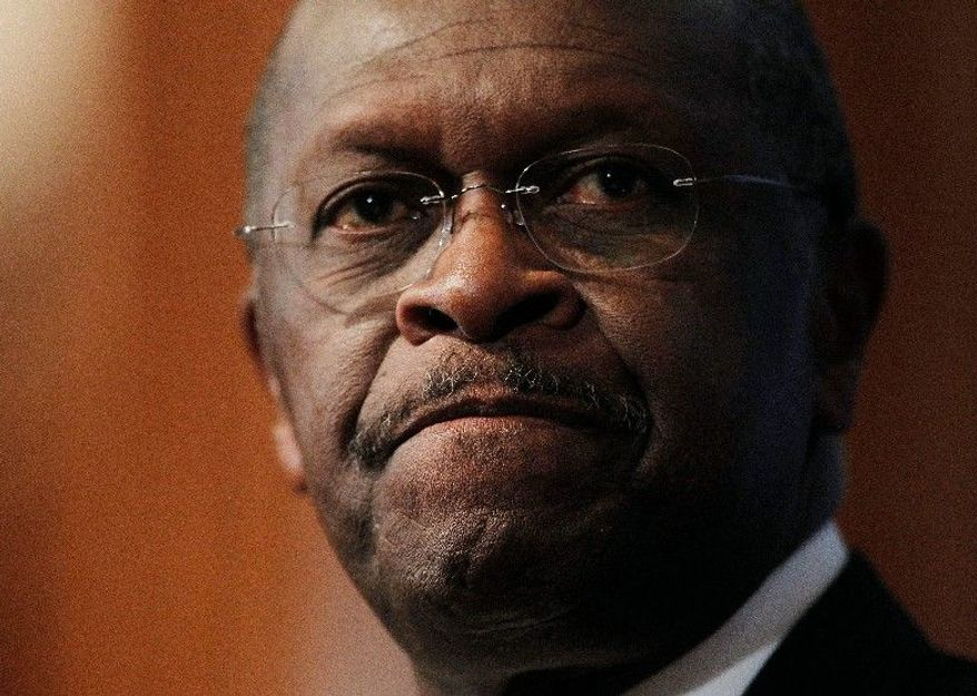 """In denying the allegations, Herman Cain said he thought his race influenced the decision to take the allegations public. """"I believe the answer is yes, but we do not have any evidence to support it,"""" he said. (Associated Press)"""