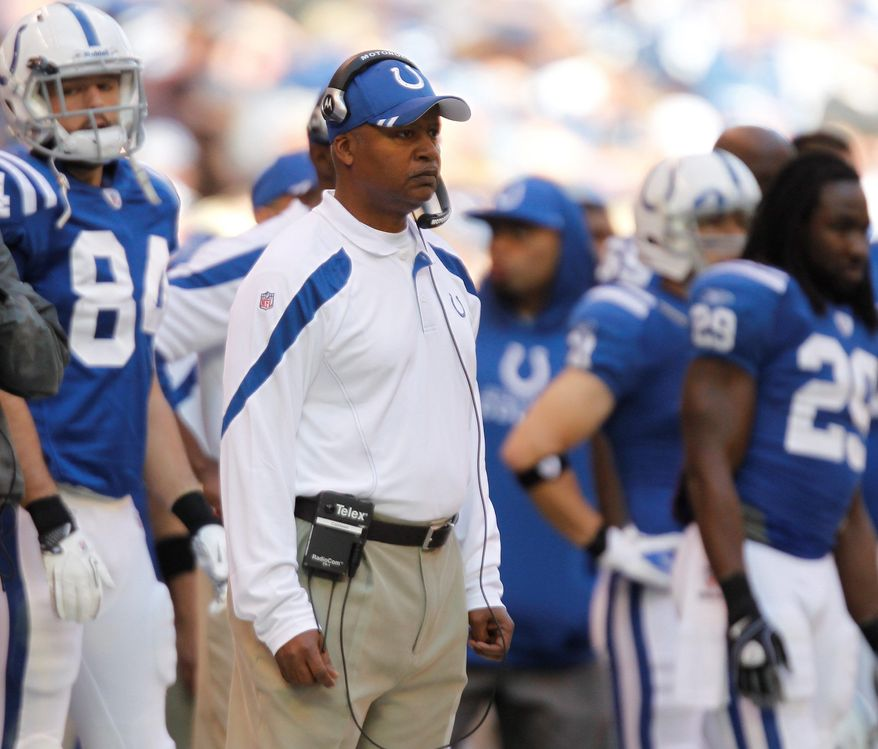 Indianapolis Colts coach Jim Caldwell looks on during the first half of an NFL football game against the Atlanta Falcons on Sunday, Nov. 6, 2011, in Indianapolis. (AP Photo/Michael Conroy)