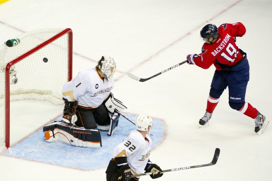 Capitals center Nicklas Backstrom rifled in the winning goal in overtime against Anaheim on Nov. 1. He forced OT by scoring with 42 seconds left in regulation time. (Andrew Harnik/The Washington Times)