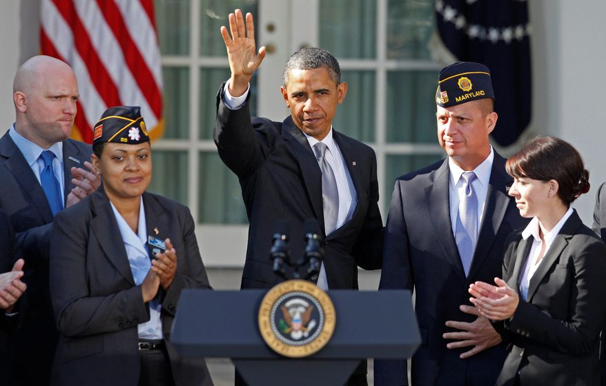 """President Obama met with veterans Monday at the White House and spoke about how tax credits for businesses that hire veterans would encourage them to hire some of the 850,000 out of work. """"If you can oversee a convoy or millions of dollars of assets in Iraq, you can help a business back home manage their supply chain or balance their books,"""" he said. (Associated Press)"""