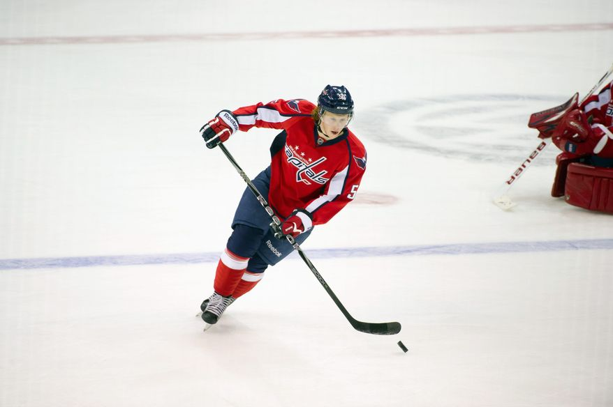 Capitals rookie center Cody Eakin scored his first NHL goal in his second game, a 5-1 road victory over the Carolina Hurricanes on Friday. (Andrew Harnik/The Washington Times)