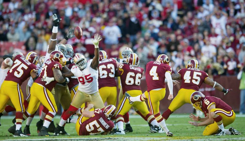 Redskins kicker Graham Gano connects on a team-record 59-yard field goal against the 49ers. The feat was a rare bright spot for a struggling Washington team that fell to 3-5. (Rod Lamkey Jr. / The Washington Times)