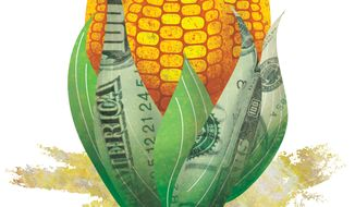 Illustration: Farm subsidy by Greg Groesch for The Washington Times