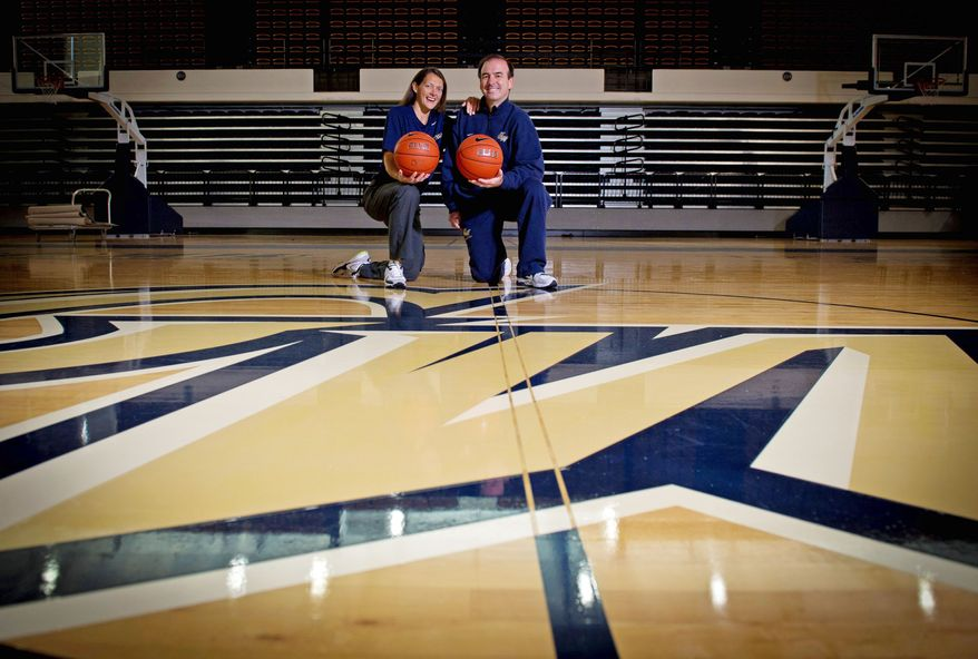 "For George Washington coach Mike Lonergan and his wife, Maggie, ""courtship"" means sharing their views on basketball. Lonergan is beginning his first season at GW after six seasons at Vermont. (Rod Lamkey Jr./The Washington Times)"