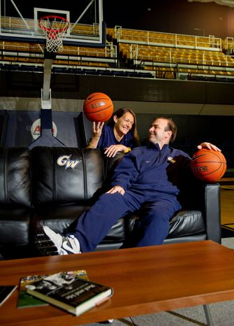 Mike and Maggie Lonergan were coaching at Division III Catholic University when Mike took over at Vermont in 2005. He was hired to replace Karl Hobbs at George Washington shortly after Peter Nero became athletic director. (Rod Lamkey Jr./The Washington Times)