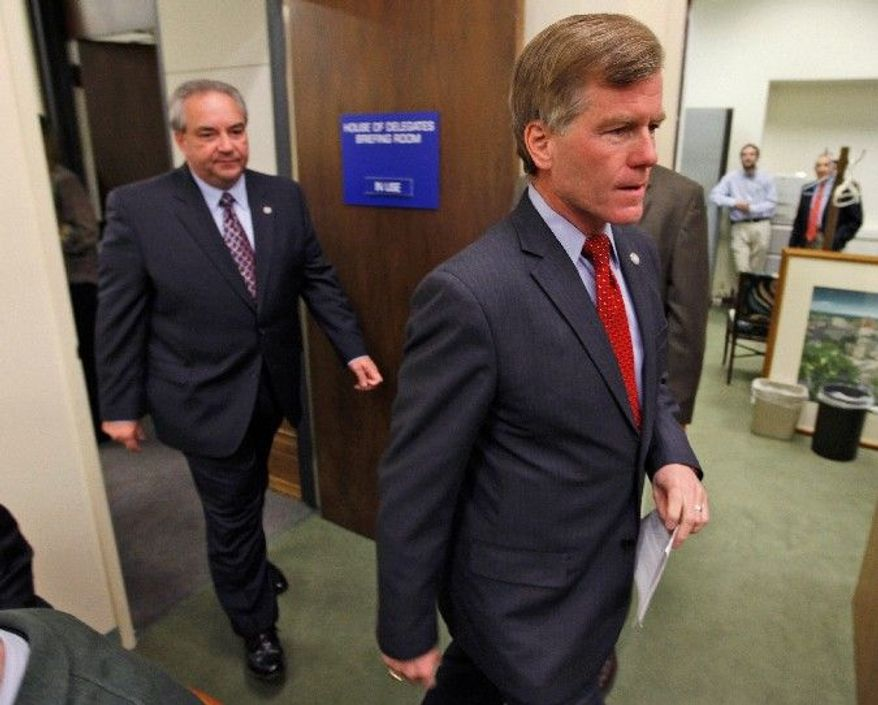 """""""Republicans will now have the responsibility and accountability ... of governing both Houses,"""" Virginia Gov. Bob McDonnell said at the Capitol in Richmond on Wednesday. (Associated Press)"""