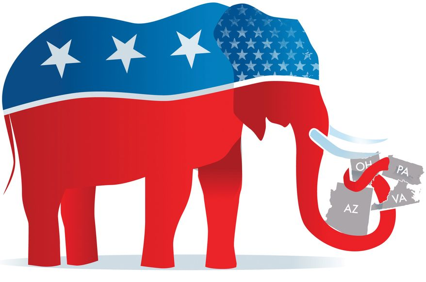 Illustration: GOP election by Linas Garsys for The Washington Times