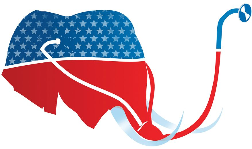 Illustration: GOP medicine by Linas Garsys for The Washington Times
