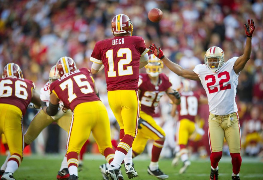 Washington Redskins quarterback John Beck must develop consistency for the offense to become productive over the last eight games of the season. (Rod Lamkey Jr./The Washington Times)