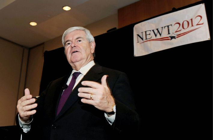 RISING: In Florida, a poll has former House Speaker Newt Gingrich in third place with 17 percent of the GOP vote. (Associated Press)