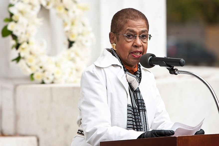 District Delegate Eleanor Holmes Norton speaks during a rededication ceremony following renovations of the District of Columbia WWI Memorial in Washington, D.C. on Nov. 10, 2011. Norton advocated keeping D.C.'s memorial dedicated strictly to the District, since each state has it's own WWI memorial.(T.J. Kirkpatrick/ The Washington Times)