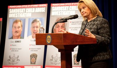 Pennsylvania Attorney General Linda Kelly discusses the details surrounding the case of former Penn State defensive coordinator Jerry Sandusky and allegations against him of sex-abuse crimes involving young men, on Monday, Nov. 7, 2011, at the Capitol in Harrisburg, Pa. (AP Photo/Daniel Shanken)