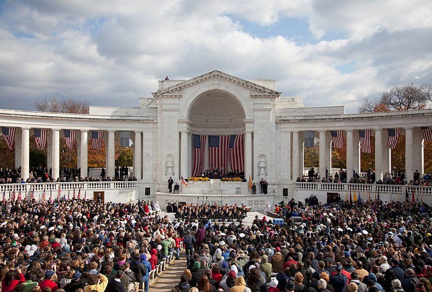 President Barack Obama speaks during a Veterans Day ceremony at Arlington National Cemetery in Arlington, Va., Friday, Nov. 11, 2011.  (AP Photo/Evan Vucci)
