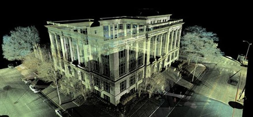 A Nov. 4, 2011 image provided by the Chattanooga Police Dept. shows new technology of the Chattanooga police that combines laser and camera technology. The system can capture details of a crime scene moments after investigators arrive, then reproduce it in three dimensions on a screen. This example shows Chattanooga City Hall from various angle and perspectives. (AP Photo/Chattanooga Police Dept. via Chattanooga Times Free Press)