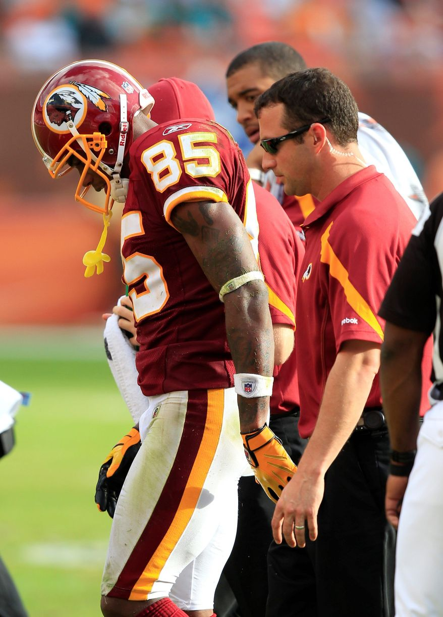 Leonard Hankerson was the first Redskins rookie with more than 100 receiving yards in a game in 10 years before leaving with an aching hip iin the fourth quarter. (Associated Press)