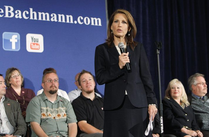 """A spokesman for presidential candidate Rep. Michele Bachmann said """"liberal mainstream media elites"""" are trying to suppress the conservative message of the Minnesota Republican. (Associated Press)"""