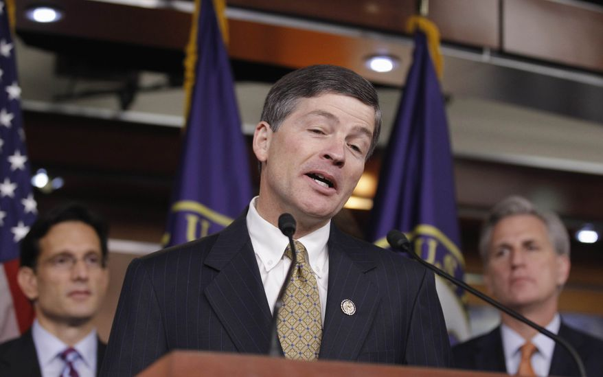 **FILE** Supercommittee Co-Chair Rep. Jeb Hensarling (center), Texas Republican, flanked by House Majority Leader Eric Cantor (left), Virginia Republican, and House Majority Whip Kevin McCarthy, California Republican, talks about the unfinished work of the supercommittee during a news conference on Capitol Hill on Nov. 4, 2011. (Associated Press)