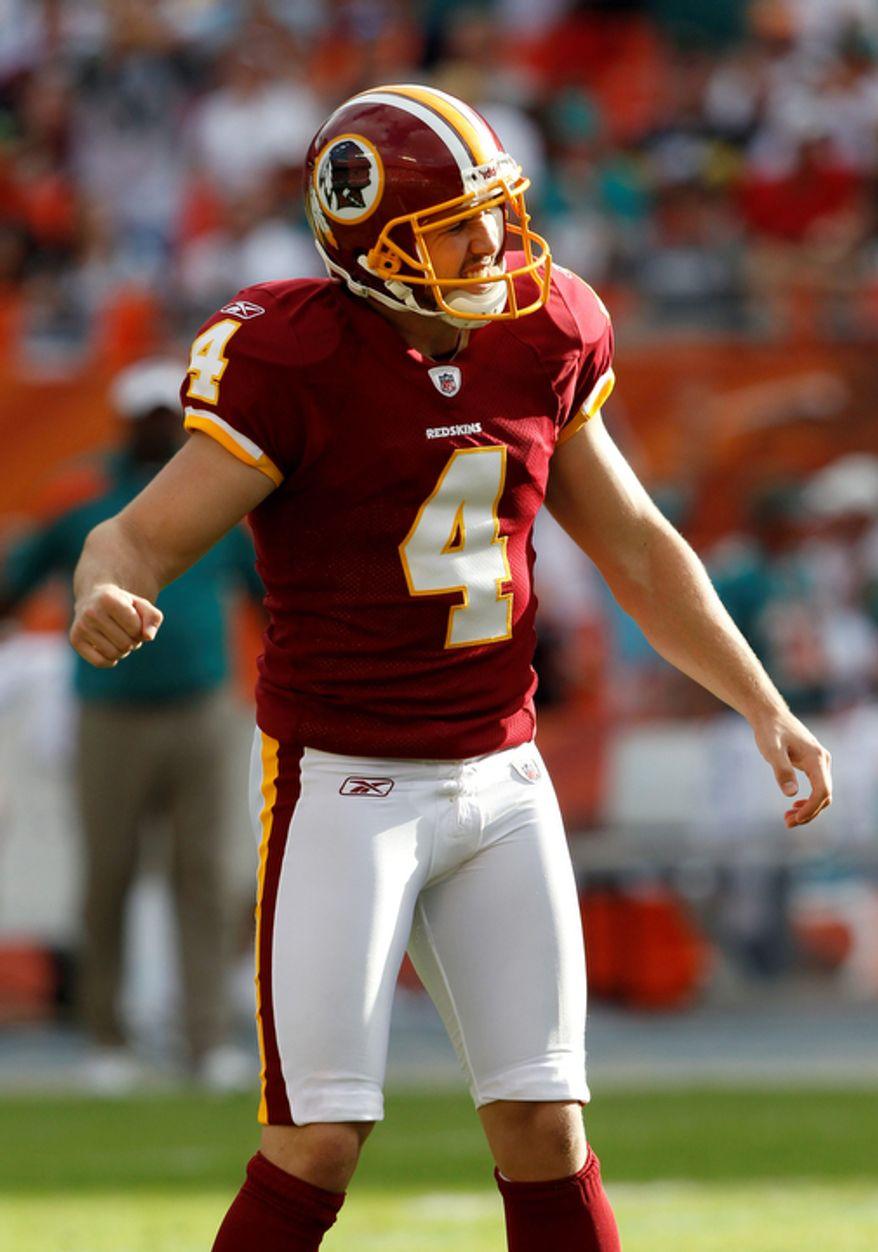 Washington Redskins kicker Graham Gano reacts after missing a field goal attempt during the fourth quarter. (AP Photo/Hans Deryk)