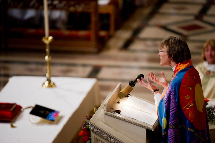 The Reverend Dr. Mariann Edgar Buddle delivers her sermon after being seated as the ninth bishop of Washington on Sunday, November 13, 2011. (Andrew Harnik / The Washington Times)