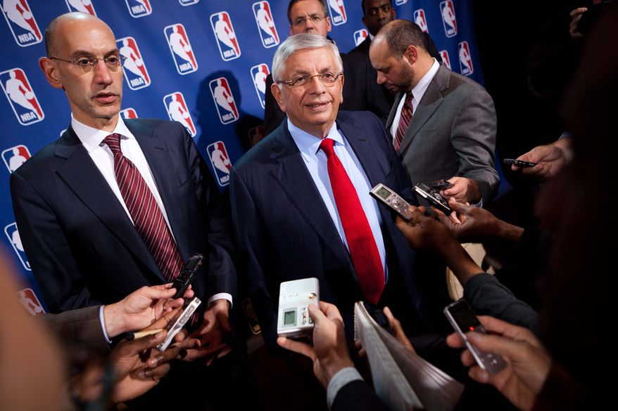 National Basketball Association commissioner David Stern speaks to the news media alongside deputy commissioner Adam Silver after a marathon meeting with the Players Association, Thursday, Nov. 10, 2011, in New York. The league presented the players' association with a new offer Thursday after nearly 11 hours of bargaining, hoping it would be enough to end the lockout. However, union president Derek Fisher said it doesn't address all the necessary system issues that are important to the players. (AP Photo/John Minchillo)