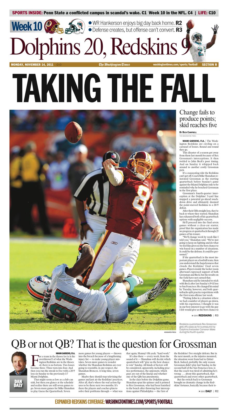 Week 10: Dolphins 20, Redskins 9