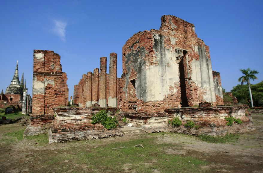 The Grand Hall stands Nov. 8, 2011, after heavy flooding in Ayutthaya province, central Thailand. (Associated Press)