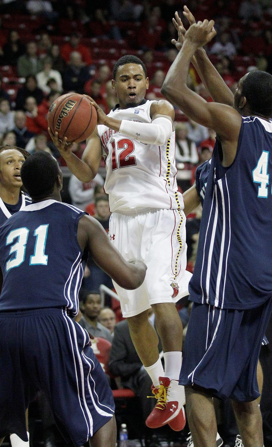 Maryland guard Terrell Stoglin came off the bench to score 22 points in 33 minutes Sunday in a 71-62 victory over UNC Wilmington. (Associated Press)