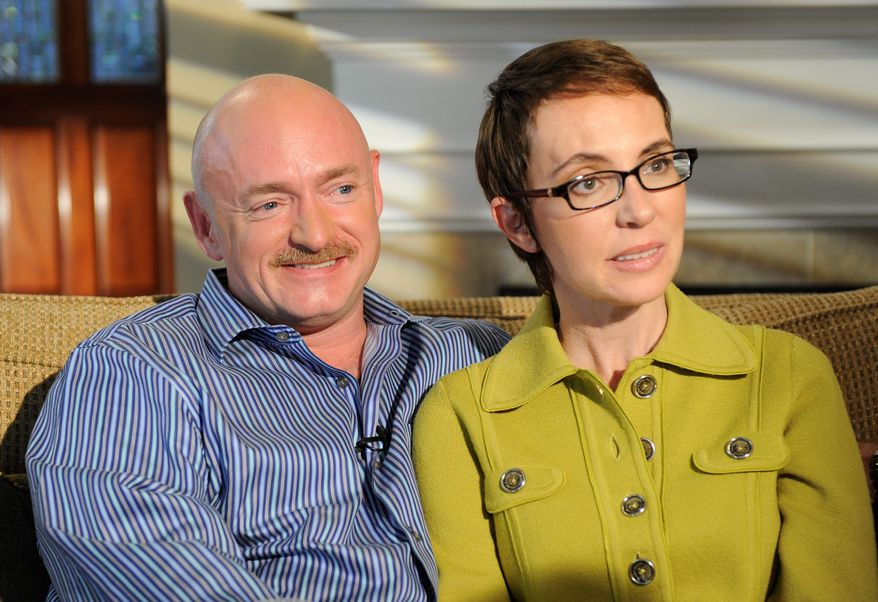 Rep. Gabrielle Giffords, with husband Mark Kelly, gives her first public interview in November since she was shot in the head in Tucson, Ariz., last January. (ABC via Associated Press)