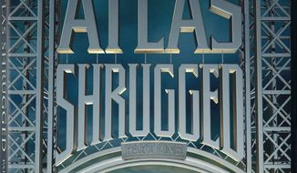 "The home video cover image for ""Atlas Shrugged: Part 1"" portrays Ayn Rand's steely resolve, but its title sheets mischaracterize the author's message as one of ""self-sacrifice."""