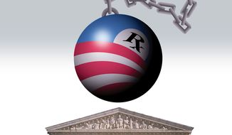 Illustration: Obamacare in court by Alexander Hunter for The Washington Times
