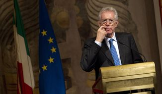 Italy's new premier-designate Mario Monti addresses the media at the Senate in Rome on Nov. 14, 2011. (Associated Press)