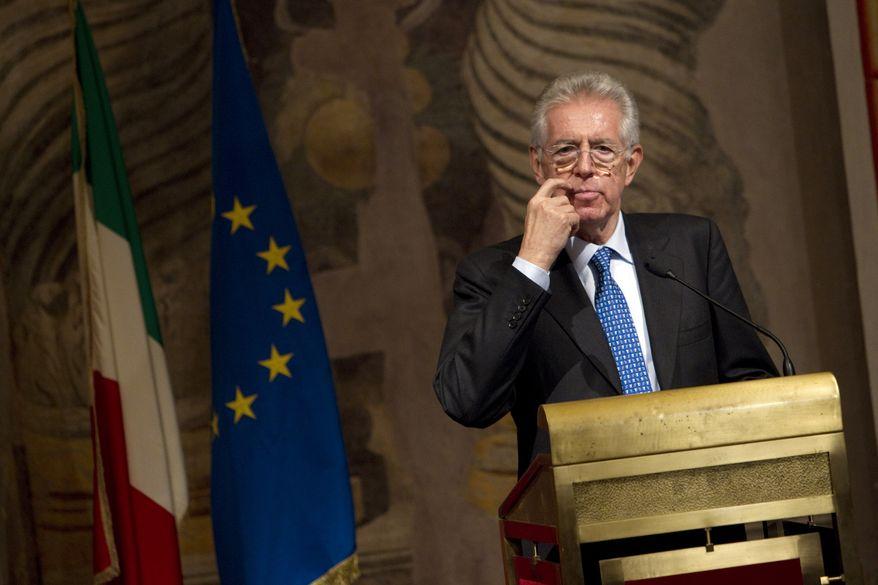 Italy's new premier-designate Mario Monti addresses the media at the Senate in Rome on Nov. 14, 2011. (Associated Press)