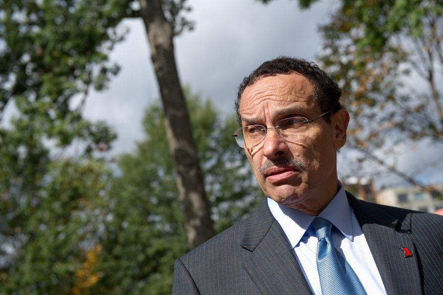 Washington, DC Mayor Vincent Gray speaks to reporters after surveying the damage the Washington National Cathedral sustained from the August 23 earthquake, Washington, DC, Thursday, October 20, 2011. (Andrew Harnik / The Washington Times)