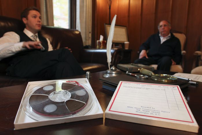 Nathan Raab, left, and his father Steven Raab, talk about their recently discovered White House communications tapes involving Air Force One in flight from Dallas on Nov. 22, 1963, during an interview at their office, in Philadelphia, on Wednesday, Nov. 9, 2011. (AP Photo/ Joseph Kaczmarek)