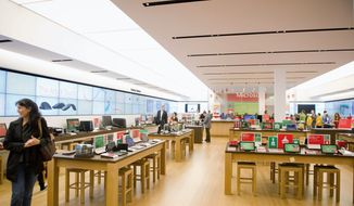 "A Microsoft Store opening Thursday at Tysons Corner Center is the first in the Washington area and just the second east of the Mississippi. It will stock other brands besides Microsoft for an ""interactive"" experience that a company official says will ""lift all boats."" (Andrew Harnik/The Washington Times)"