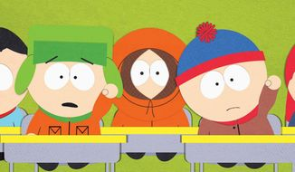 "Kyle, Kenny, Stan and the rest of the gang from ""South Park."""