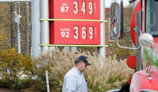 A gasoline tanker makes a delivery at a Sheetz in Altoona, Pa. Oil prices fell to $98.82 per barrel on Thursday, a day after rising to $102. Oil investors are exhibiting uncertainty about events in Europe. (Associated Press)