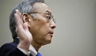 Former Department of Energy Secretary Steven Chu swears in before testifying Nov. 17, 2011, in Washington before the House Committee on Energy and Commerce's investigations panel on the department's handling of federal loans to solar panel manufacturer Solyndra. (T.J. Kirkpatrick/The Washington Times)