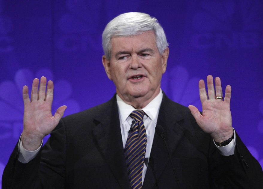 **FILE** Republican presidential candidate and former House Speaker Newt Gingrich speaks Nov. 9, 2011, during a GOP presidential debate at Oakland University in Auburn Hills, Mich. (Associated Press)