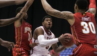 Maryland played No. 15 Alabama in San Juan, Puerto Rico on Thursday, and lost 62-42. (AP Photo/Ricardo Arduengo)