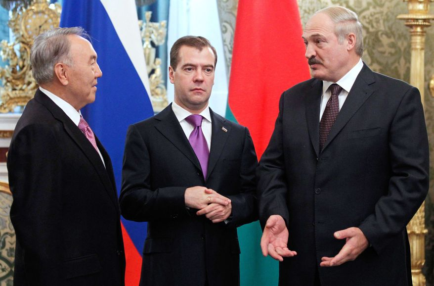 From left, Presidents of Kazakhstan Nursultan Nazarbayev, Russia Dmitry Medvedev and Belarus Alexander Lukashenko meet in Moscow's Kremlin on Friday, Nov. 18, 2011. (AP Photo/RIA Novosti, Dmitry Astakhov, Presidential Press Service)
