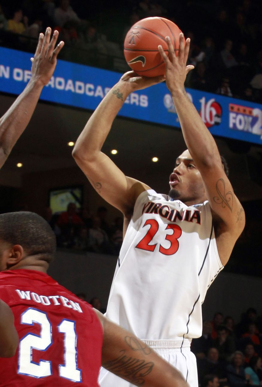 Virginia's Mike Scott, shown against South Carolina, had a game-high 21 points in the Cavaliers' 49-35 win Saturday night over Drexel. (AP Photo/Andrew Shurtleff)