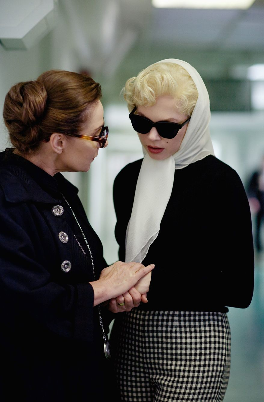 """Michelle Williams offers a layered portrayal of Marilyn Monroe in the film """"My Week With Marilyn."""" Miss Williams is shown in a scene with Zoe Wanamaker as Paula Strasberg. (The Weinstein Company via Associated Press)"""